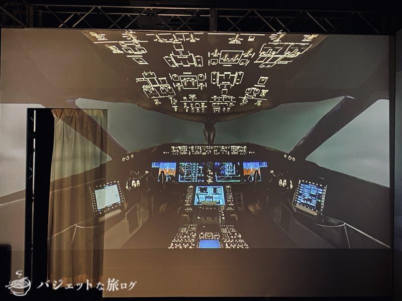 熊本にふらっと行ったら「くまもと空博2021」に遭遇した(プロジェクターから移されたコックピットの様子)
