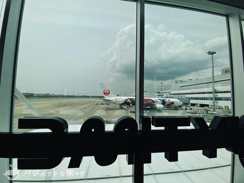 エニタイムフィットネス福岡空港(ジムの向こうにはJAL特別塗装機が)