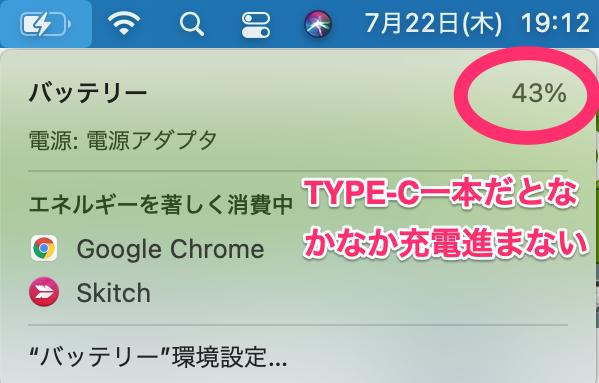 タッチパネル搭載15.6インチのEVICIVモバイルディスプレイ・レビュー(TYPE-Cケーブル一本だと充電があまり進まない)