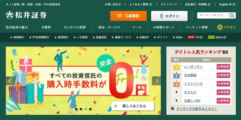 松井証券のホームページ